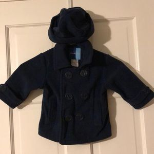 Toddler Fleece pea coat with hat